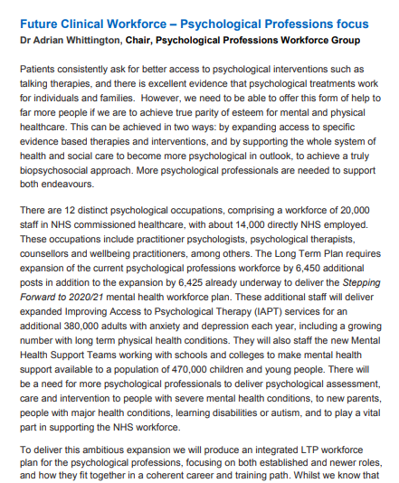 Future Clinical Workforce – Psychological Professions focus