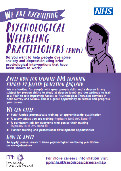 Psychological Wellbeing Practitioner Recruitment Flyer