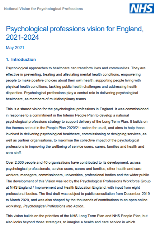 National Psychological Professions Vision for England, 2021-2024